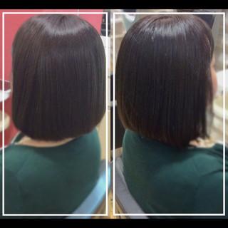 ボブ 艶髪 髪質改善カラー 社会人の味方 ヘアスタイルや髪型の写真・画像