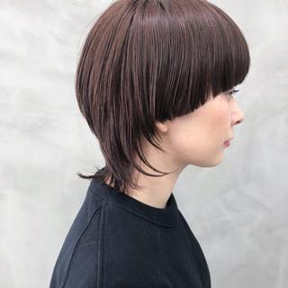 ブラウンベージュ ネオウルフ ショート ウルフカット ヘアスタイルや髪型の写真・画像