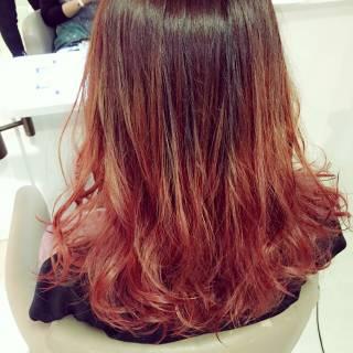 ロック 冬 レッド 暗髪 ヘアスタイルや髪型の写真・画像