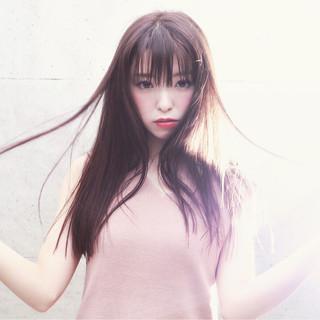 暗髪 アッシュ ロング おフェロ ヘアスタイルや髪型の写真・画像