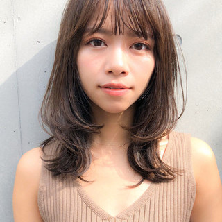 ゆるふわセット 前髪 透明感カラー セミロング ヘアスタイルや髪型の写真・画像