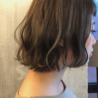 女子力 ボブ くすみカラー ゆるふわ ヘアスタイルや髪型の写真・画像