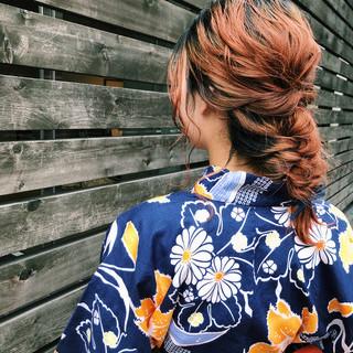 ヘアアレンジ 浴衣ヘア ミディアム お祭り ヘアスタイルや髪型の写真・画像