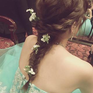 編み込み 花嫁 ヘアアレンジ ロング ヘアスタイルや髪型の写真・画像 ヘアスタイルや髪型の写真・画像