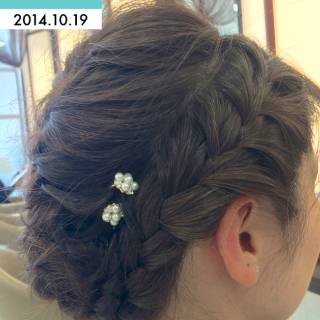 編み込み 三つ編み ヘアアレンジ ナチュラル ヘアスタイルや髪型の写真・画像