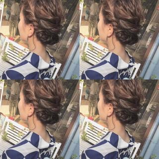 ミディアム 簡単ヘアアレンジ デート 浴衣アレンジ ヘアスタイルや髪型の写真・画像