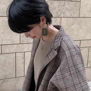ショート 黒髪 ハンサムショート ショートヘア ヘアスタイルや髪型の写真・画像