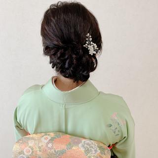 結婚式髪型 ヘアアレンジ 訪問着 ミディアム ヘアスタイルや髪型の写真・画像