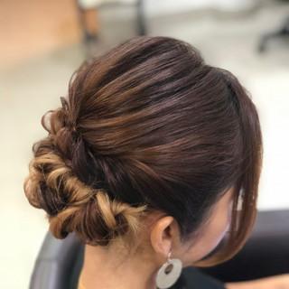ナチュラル可愛い 結婚式ヘアアレンジ フェミニン ミディアム ヘアスタイルや髪型の写真・画像