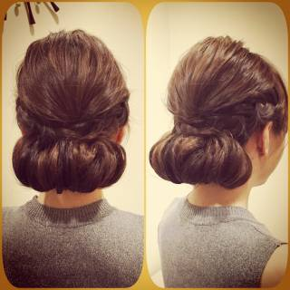 セミロング 編み込み 愛され ヘアアレンジ ヘアスタイルや髪型の写真・画像