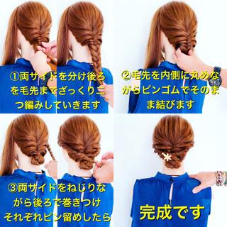 簡単ヘアアレンジ エレガント ヘアアレンジ エフォートレス ヘアスタイルや髪型の写真・画像