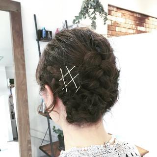 編み込み ミディアム まとめ髪 ヘアアレンジ ヘアスタイルや髪型の写真・画像