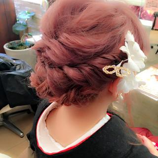 ミディアム 編み込み 着物 ガーリー ヘアスタイルや髪型の写真・画像