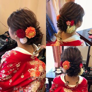 和装髪型 セミロング ヘアアレンジ フェミニン ヘアスタイルや髪型の写真・画像