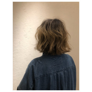 ナチュラル ボブ 大人女子 3Dカラー ヘアスタイルや髪型の写真・画像