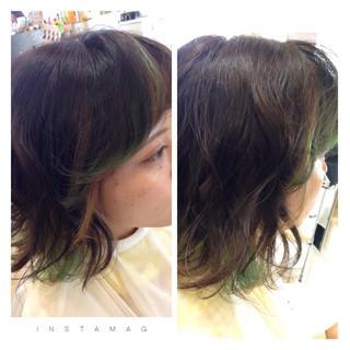 ボブ 前髪あり グリーン ストリート ヘアスタイルや髪型の写真・画像