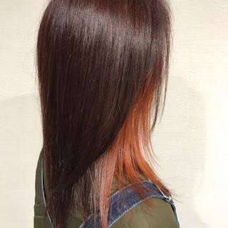 オレンジ 雨の日 ナチュラル ロング ヘアスタイルや髪型の写真・画像 ヘアスタイルや髪型の写真・画像