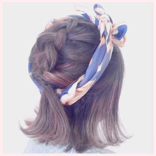 ヘアアクセ ヘアアレンジ ボブ 編み込み ヘアスタイルや髪型の写真・画像 ヘアスタイルや髪型の写真・画像