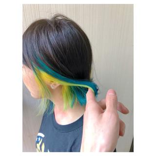 簡単ヘアアレンジ フェミニン インナーカラー デート ヘアスタイルや髪型の写真・画像