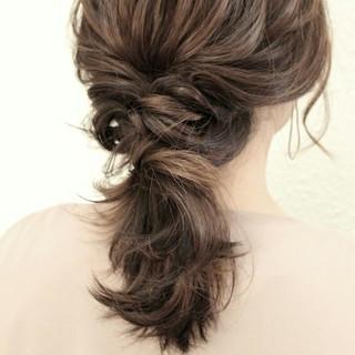 ポニーテール 簡単ヘアアレンジ 結婚式 ショート ヘアスタイルや髪型の写真・画像