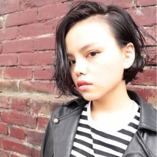 黒髪 ストレート 暗髪 ショート ヘアスタイルや髪型の写真・画像