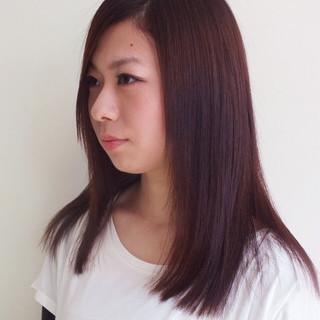 レイヤーカット セミロング 縮毛矯正 パーマ ヘアスタイルや髪型の写真・画像