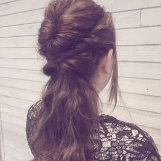 ゆるふわ ヘアアレンジ くるりんぱ フェミニン ヘアスタイルや髪型の写真・画像 ヘアスタイルや髪型の写真・画像