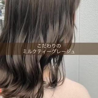 ミルクティーグレージュ アンニュイほつれヘア ナチュラル ミルクティーベージュ ヘアスタイルや髪型の写真・画像