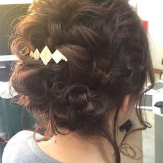 大人かわいい 結婚式 編み込み ミディアム ヘアスタイルや髪型の写真・画像 ヘアスタイルや髪型の写真・画像