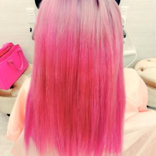 ロング かわいい ガーリー ピンク ヘアスタイルや髪型の写真・画像