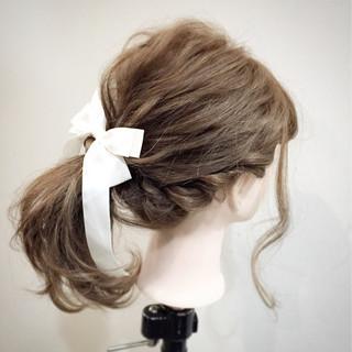 ゆるふわ セミロング ポニーテール 簡単ヘアアレンジ ヘアスタイルや髪型の写真・画像