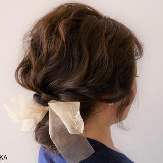 簡単ヘアアレンジ ヘアアレンジ セミロング ゆるふわ ヘアスタイルや髪型の写真・画像