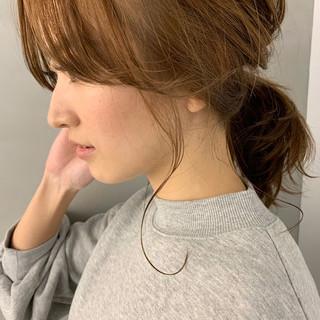 ポニーテール 簡単ヘアアレンジ ヘアアレンジ ミディアム ヘアスタイルや髪型の写真・画像 ヘアスタイルや髪型の写真・画像