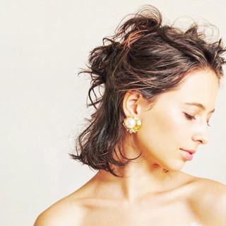 ミディアム 暗髪 黒髪 パーマ ヘアスタイルや髪型の写真・画像