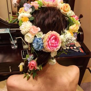 ヘアアレンジ ブライダル 花嫁 ロング ヘアスタイルや髪型の写真・画像