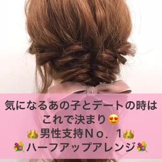 簡単ヘアアレンジ エフォートレス フェミニン ミディアム ヘアスタイルや髪型の写真・画像