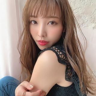 前髪 セミロング フェミニン ゆるふわパーマ ヘアスタイルや髪型の写真・画像