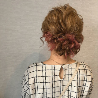 成人式 アップスタイル フェミニン ミディアム ヘアスタイルや髪型の写真・画像