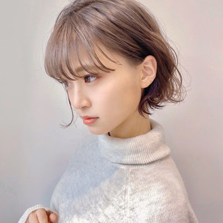 ミニボブ ショートボブ インナーカラー ナチュラル ヘアスタイルや髪型の写真・画像