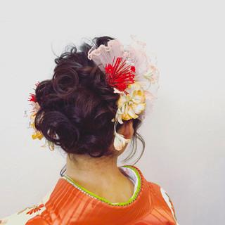 黒髪 セミロング フェミニン デート ヘアスタイルや髪型の写真・画像