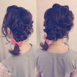編み込み ヘアアレンジ ボブ フェミニン ヘアスタイルや髪型の写真・画像