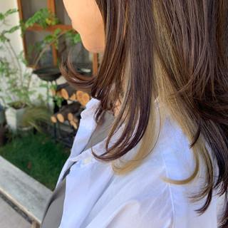 大人かわいい インナーカラー オフィス ロング ヘアスタイルや髪型の写真・画像
