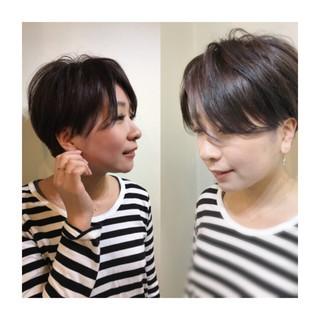 暗髪 マッシュ ショート アッシュ ヘアスタイルや髪型の写真・画像
