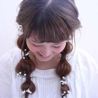 ハーフアップ アッシュ ゆるふわ セミロング ヘアスタイルや髪型の写真・画像