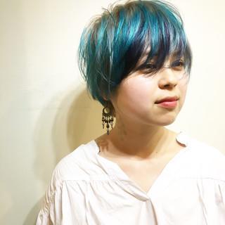 ストリート 色気 ハイトーン ショート ヘアスタイルや髪型の写真・画像