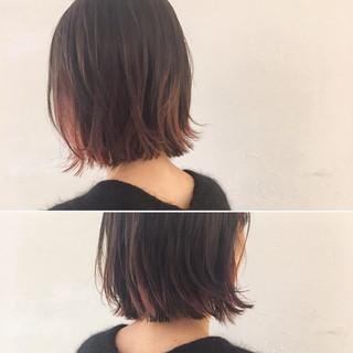 レッド 外国人風 ピンク インナーカラー ヘアスタイルや髪型の写真・画像