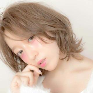 ハイライト ボブ ガーリー フェミニン ヘアスタイルや髪型の写真・画像