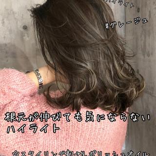 ハイライト 地毛ハイライト コントラストハイライト セミロング ヘアスタイルや髪型の写真・画像 ヘアスタイルや髪型の写真・画像