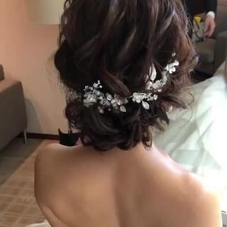 結婚式ヘアアレンジ ヘアアレンジ セミロング フェミニン ヘアスタイルや髪型の写真・画像
