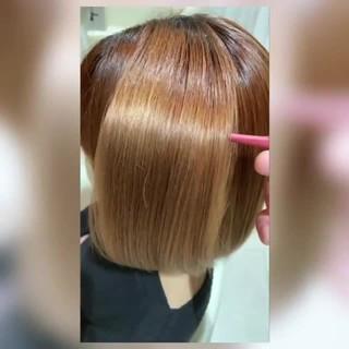 艶髪 トリートメント ボブ 髪質改善カラー ヘアスタイルや髪型の写真・画像